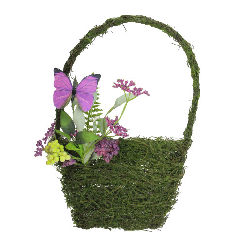 """15"""" Purple and Green Mixed Berry and Butterfly Artificial Wall Basket Decoration - IMAGE 1"""