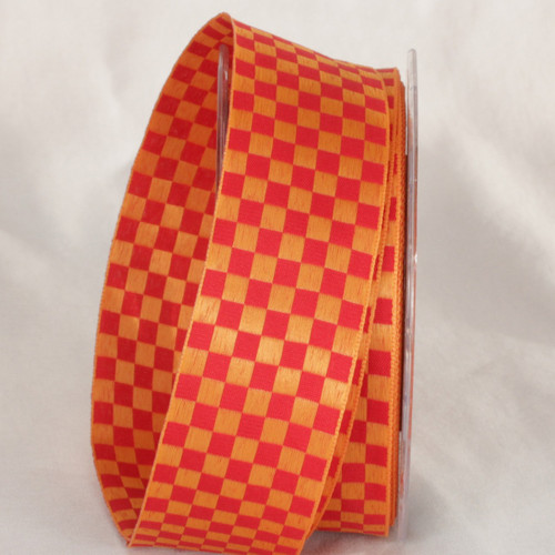 """Orange and Red Checkered Wired Craft Ribbon 1.5"""" x 54 Yards - IMAGE 1"""