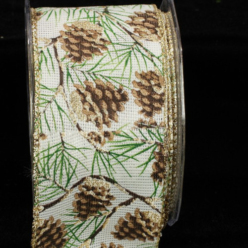"""Gold and Green Pinecone Christmas Wired Craft Ribbon 2.5"""" x 40 Yards - IMAGE 1"""