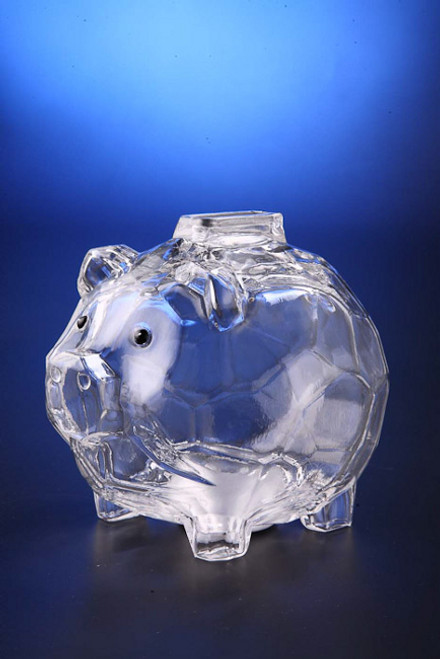 """Set of 6 Icy Clear Decorative Functional Piggy Bank with Removable Plug Figurines 4.5"""" - IMAGE 1"""