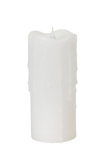 """7"""" Simplux White Flameless LED Lighted Wax Pillar Candle with Moving Flame - IMAGE 1"""