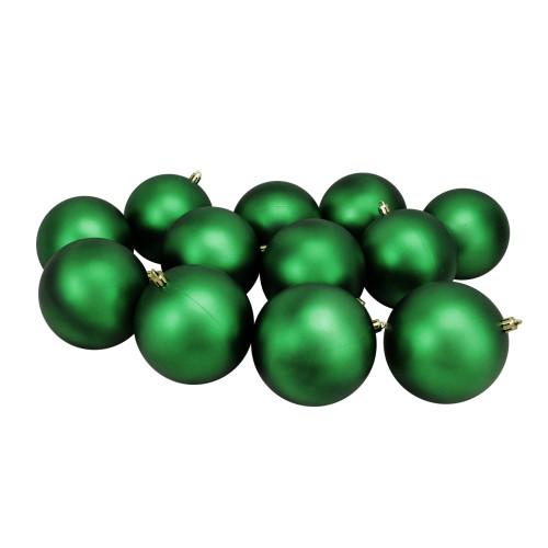 "12ct Xmas Green Shatterproof Matte Christmas Ball Ornaments 4"" (100mm) - IMAGE 1"