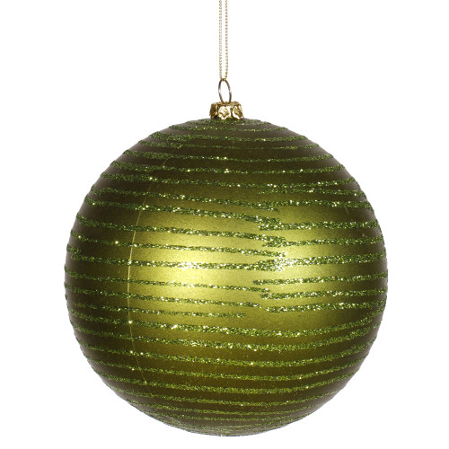 "Glitter Olive Green Shatterproof Christmas Ball Ornament 4.75"" (120mm) - IMAGE 1"