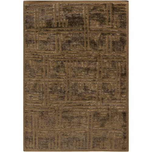 2' x 3' Brown Stripe Hand-Knotted Area Throw Rug - IMAGE 1