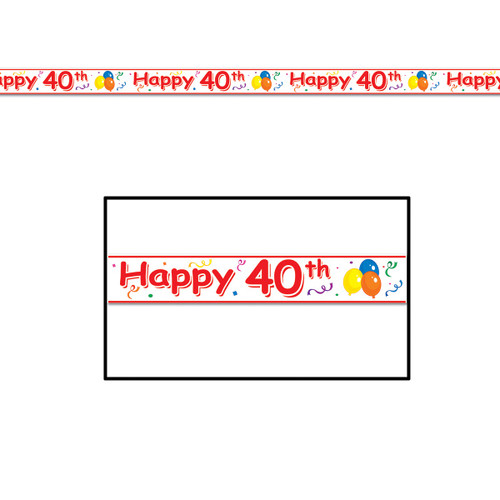"""Club Pack of 12 ''Happy 40th'' Birthday Party Tape 3"""" x 20' - IMAGE 1"""