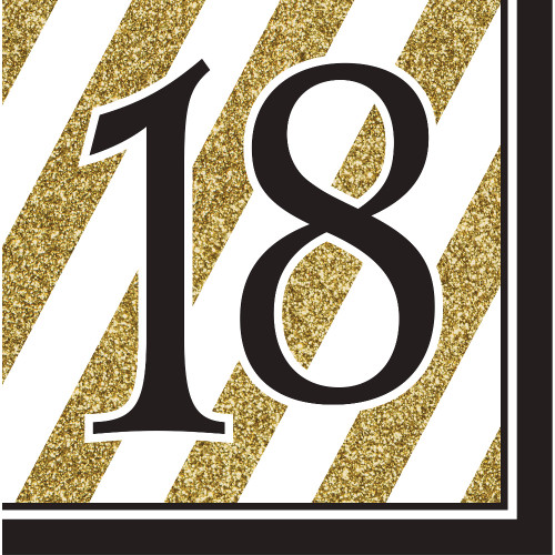 """Pack of 192 Gold and White Striped Disposable """"18"""" Birthday Party Luncheon Napkins 6.5"""" - IMAGE 1"""