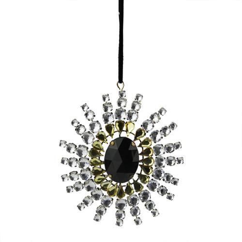 "4.75"" Black and Gold Gem Studded Snowflake Christmas Ornament - IMAGE 1"