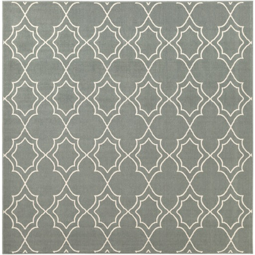 8.75' Gray and Beige Contemporary Square Area Throw Rug - IMAGE 1