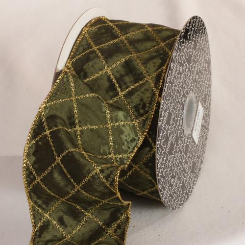 "Hunter Green Diamond Stitch Wired Craft Ribbon 3"" x 20 Yards - IMAGE 1"