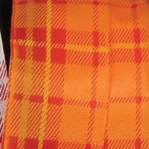 "Orange and Red Spring Plaid Wired Craft Ribbon 1.5"" x 54 Yards - IMAGE 1"