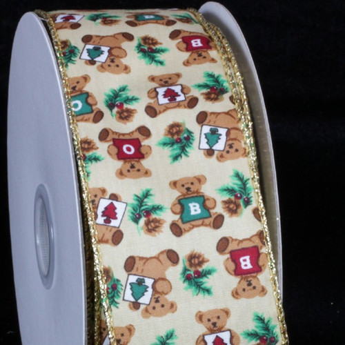 "Ivory and Brown Bear Wired Craft Ribbon 2"" x 20 Yards - IMAGE 1"