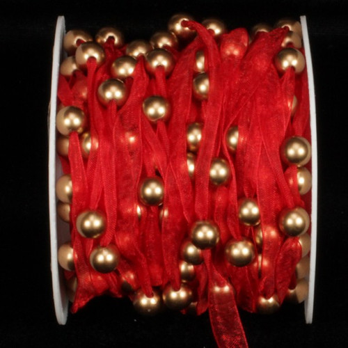 """Red Organdy Contemporary Craft Ribbon with Pearls 9.5"""" mm x 27 Yards - IMAGE 1"""