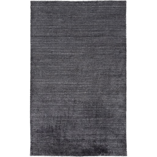 3.5' x 5.5' Black Rectangular Hand-Knotted Area Throw Rug - IMAGE 1