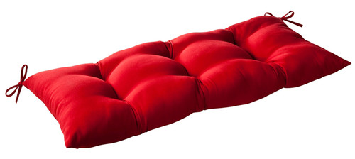 "44"" Red Reversible Outdoor Patio Tufted Wicker Loveseat Cushion - IMAGE 1"