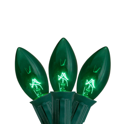 25-Count Green Transparent C9 Christmas Light Set, 25ft Green Wire - IMAGE 1