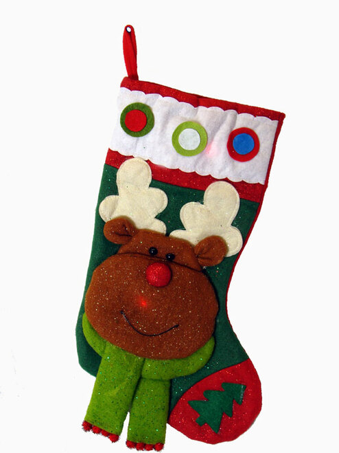"""22"""" Color Changing LED Lighted Glittered Reindeer Christmas Stocking - IMAGE 1"""