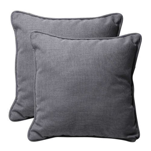 Set of 2 Gray Square Outdoor Corded Throw Pillows 18.5-Inch - IMAGE 1