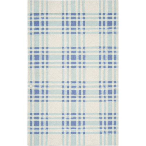 3.5' x 5.5' Blue and White Plaid Wool Area Throw Rug - IMAGE 1