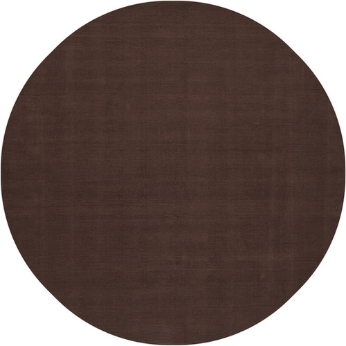 8' Brown Hand-Loomed Wool Round Area Throw Rug - IMAGE 1