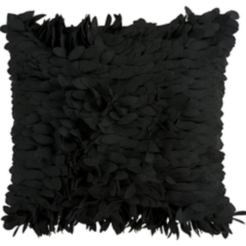"""18"""" Coal Black Feather Like Decorative Throw Pillow - Down Filler - IMAGE 1"""