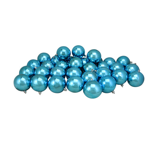 """32ct Turquoise Blue Shatterproof Shiny Christmas Ball Ornaments 3.25"""" (80mm) - IMAGE 1"""