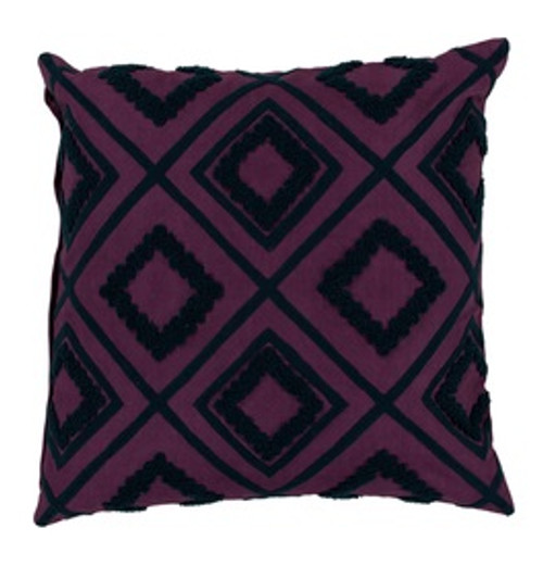 """18"""" Black and Purple Diamond Contemporary Square Throw Pillow - Down Filler - IMAGE 1"""