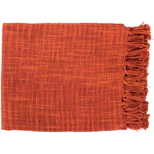 "49"" x 59"" Summertime Breeze Cinnamon and Burnt Orange Fringed Throw Blanket - IMAGE 1"