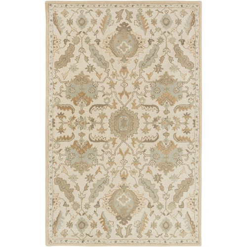 6' x 9' Ivory White and Olive Green Rectangular Wool Area Throw Rug - IMAGE 1