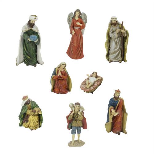 "8-Piece Green and Red Jewel Tone Inspirational Religious Christmas Nativity Figurine Set 12.25"" - IMAGE 1"