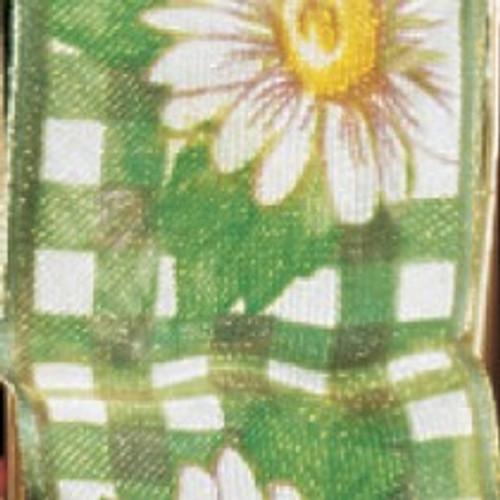 "Emerald Green Daisy Plaid Sheer Wired Edge Craft Ribbon 1.5"" x 22 Yards - IMAGE 1"