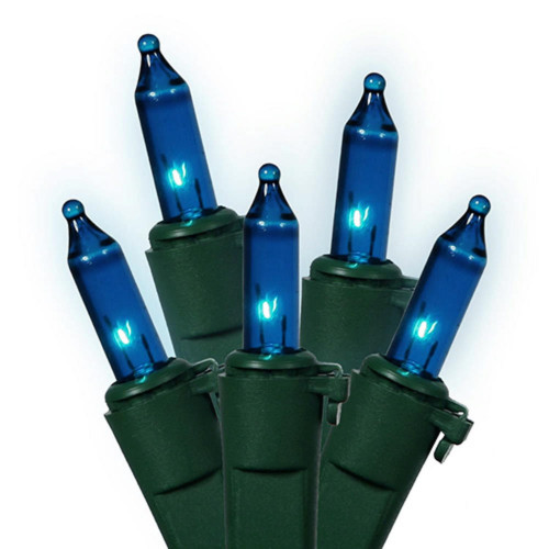 35-Count Teal Blue Mini Christmas Light Set, 11.25ft Green Wire - IMAGE 1
