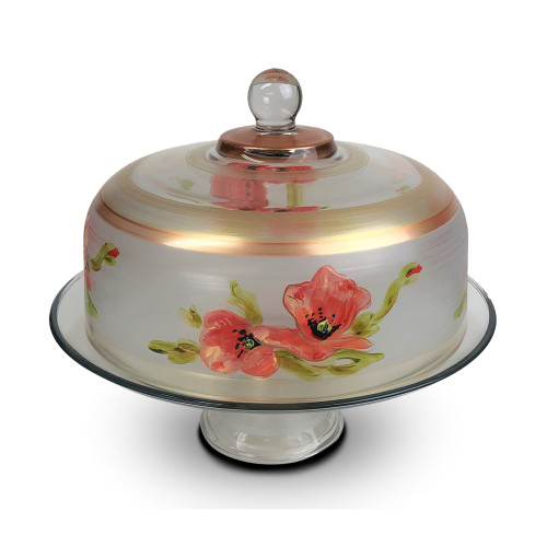 """Pink Peony Floral Hand Painted Glass Convertible Cake and Pie Dessert Dome 13"""" - IMAGE 1"""