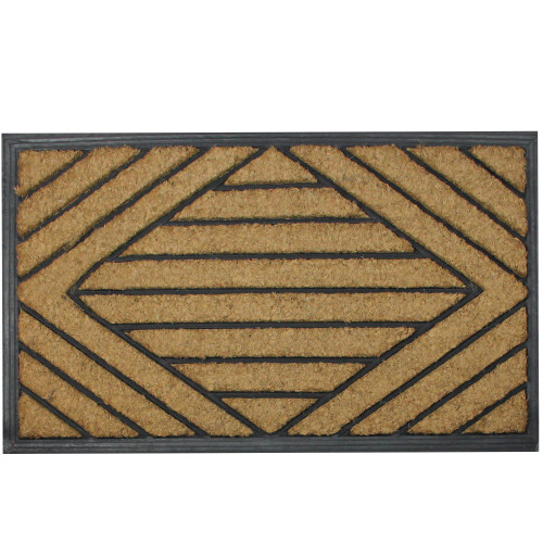 Black and Brown Diamond Pattern Doormat with Rubber Back 29 x 17 - IMAGE 1