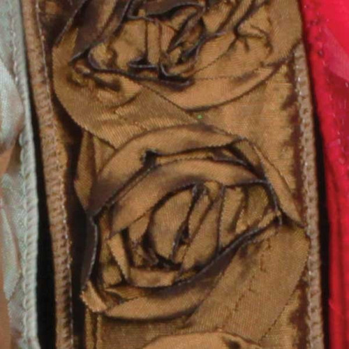 """Brown Contemporary Roses Wired Craft Ribbon 1.5"""" x 10 Yards - IMAGE 1"""