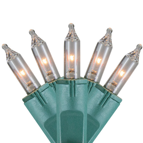 100-Count Clear Perm-O-Snap Mini Christmas Light Set, 49.3ft Green Wire - IMAGE 1