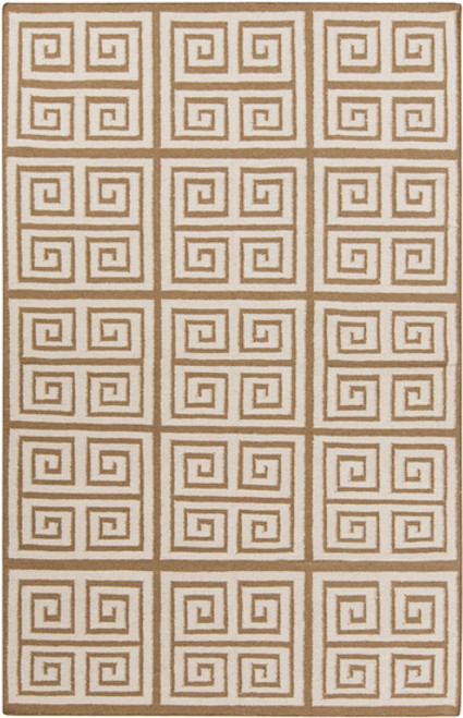 3.5' x 5.5' Brown Hand-Woven Wool Area Throw Rug - IMAGE 1