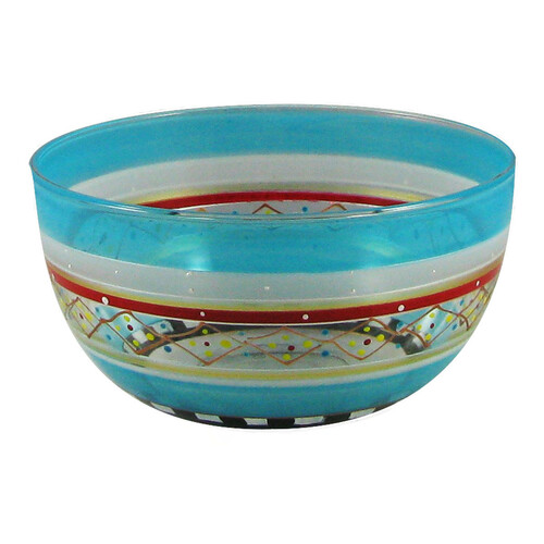 """Set of 2 Blue Mosaic Carnival Confetti Hand Painted Glass Serving Bowls 6"""" - IMAGE 1"""