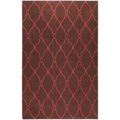 5' x 8' Camel Brown and Red Damask Hand Tufted Wool Area Throw Rug - IMAGE 1