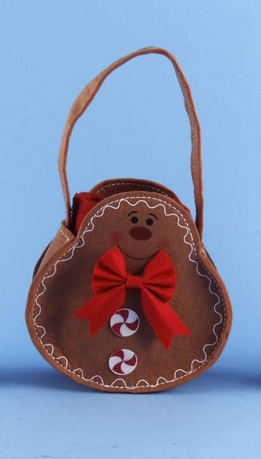 """12"""" Brown Gingerbread Man Basket Pouch Filled w/ Christmas Red Guest Hand Towels - IMAGE 1"""