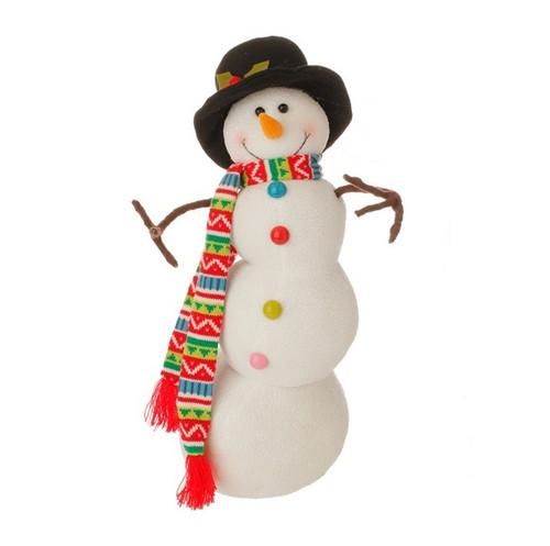 "21"" White and Black Posable Christmas Snowman Decor - IMAGE 1"