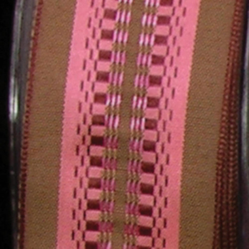"""Brown and Pink Woven Wired Craft Ribbon 1.5"""" x 54 Yards - IMAGE 1"""