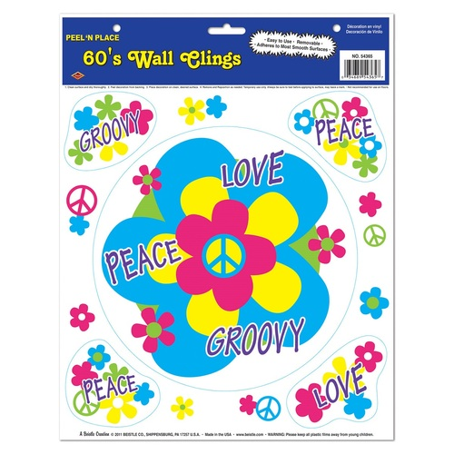 """Club Pack of 60 Vibrantly Colored Retro 60's Peel 'N Place Decors 15"""" - IMAGE 1"""