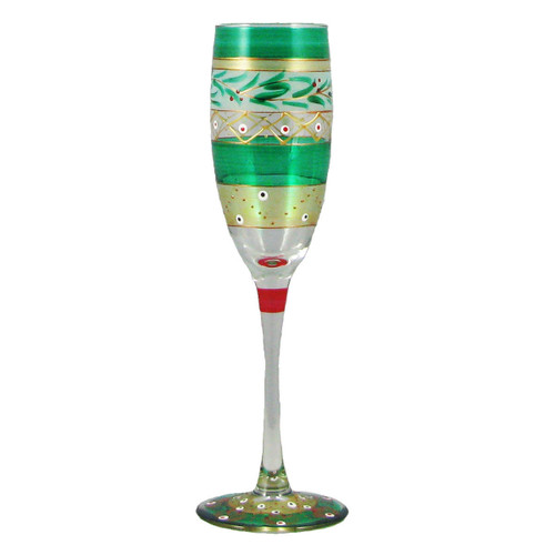 """Set of 2 Green Mosaic Garland Hand Painted Champagne Flute Glasses 7"""" - IMAGE 1"""