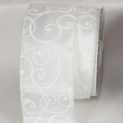 """White Swirl Print Wired Craft Ribbon 2.5"""" x 20 Yards - IMAGE 1"""