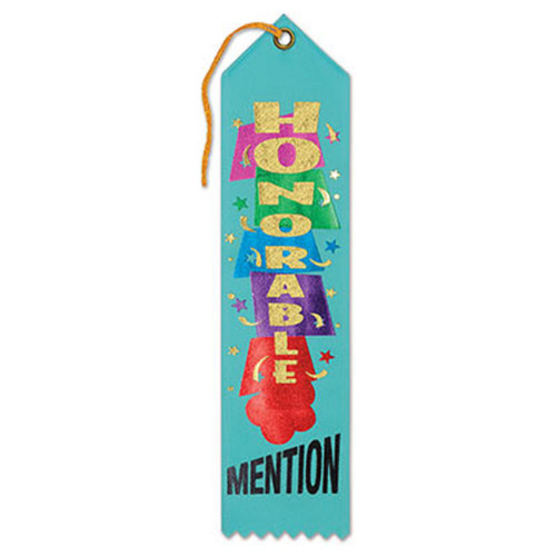 """Pack of 6 Blue """"Honorable Mention Award"""" School Award Ribbon Bookmarks 8"""" - IMAGE 1"""