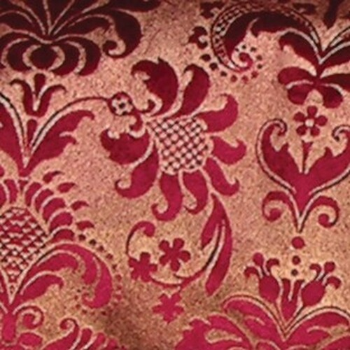 """Wine Red Shiny Floral Wired Craft Ribbon 5"""" x 20 Yards - IMAGE 1"""