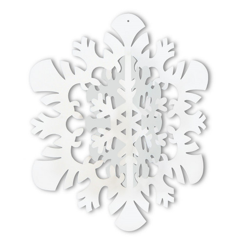 """Club Pack of 12 Winter Wonderland Themed 3-D Snowflake Hanging Party Decorations 14"""" - IMAGE 1"""