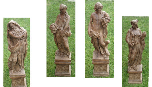 """Set of 4 Brown Four Seasons Outdoor Garden Statues with Pedestals 52"""" - IMAGE 1"""