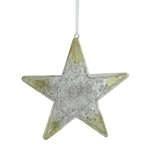 "4.75"" Silver and Gold Happy Holidays Star Christmas Ornament - IMAGE 1"