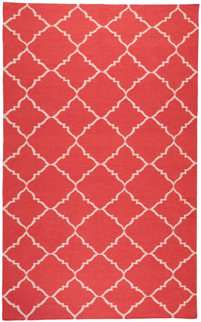 5' x 8' Beige and Red Rectangular Hand-Woven Wool Area Throw Rug - IMAGE 1